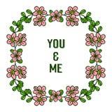 Rosa e foglie della corona della struttura dell'illustrazione di vettore verdi per voi e me illustrazione vettoriale