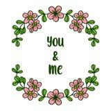 Rosa e foglie della corona della struttura dell'illustrazione di vettore verdi per voi e me royalty illustrazione gratis