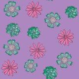 Rosa e fondo senza cuciture floreale verde di vettore del modello di ripetizione della grande stampa illustrazione di stock