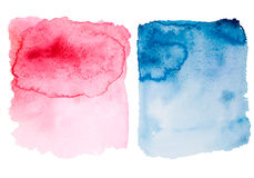 Rosa e formas azuis do inclinação da aquarela foto de stock royalty free