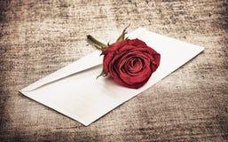 Rosa e letra vermelhas imagem de stock royalty free