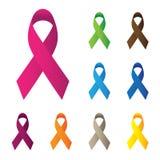 Rosa e outras fitas da cor, ico do vetor da conscientização do câncer da mama Imagem de Stock