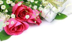Rosa e presente Immagini Stock