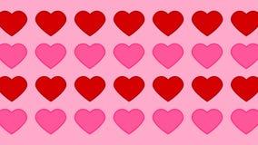 Rosa e teste padrão vermelho em um fundo cor-de-rosa - animação dos corações ilustração do vetor