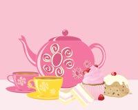 Rosa eftermiddagte med dekorerad lerkärl och läckra kakor royaltyfri illustrationer