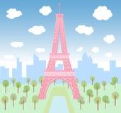 Rosa Eiffel i gräsplan parkerar royaltyfri illustrationer