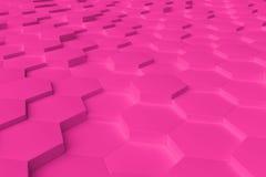 Rosa einfarbiges Hexagon deckt abstrakten Hintergrund mit Ziegeln Stockfoto