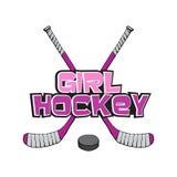 Rosa Eis-Hockeyschläger mit Kobold Hockeymädchenbeschriftung Sport-Vektorillustration lokalisiert auf weißem Hintergrund Eis stock abbildung