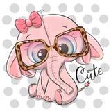 Rosa elefant för tecknad film i rosa exponeringsglas royaltyfri illustrationer