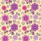 Rosa elegante e teste padrão sem emenda roxo da repetição do vetor das flores e das folhas no fundo amarelo macio ilustração do vetor