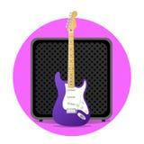 Rosa elektrisk gitarr med ampere Fotografering för Bildbyråer