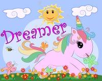 Rosa enhörning på en äng med blommor, regnbåge, sol Barnillustration, sagatecken, drömmare stock illustrationer