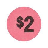 Rosa etiqueta engomada de la venta de garaje de dos dólares foto de archivo libre de regalías