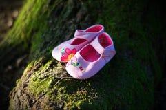 Rosa färg behandla som ett barn skor Fotografering för Bildbyråer