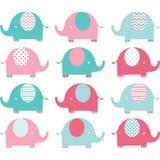 Rosa färg- och Aqua Cute Elephant uppsättning royaltyfri illustrationer