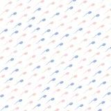 Rosa färg- och blåttspermatozoidssymboler på vit bakgrund som är sömlös royaltyfri illustrationer