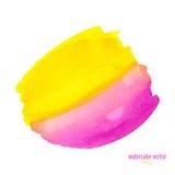 Rosa färg- och gulingvattenfärgcirkel Royaltyfria Foton