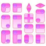 Rosa färg- och lilaknappuppsättning Arkivbild