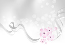 Rosa färgblommadesign mot silvergrå färgbakgrund Arkivbild