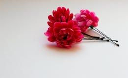 Rosa färgblommastift för hår Royaltyfri Bild