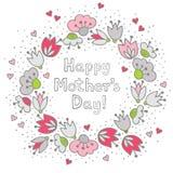 Rosa färgblommor och hjärtor på det vita mors dagkortet Royaltyfri Bild