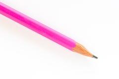 Rosa färgblyertspenna på vit bakgrund Royaltyfri Bild