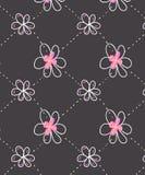 Rosa färgen blommar den sömlösa modellen med svart bakgrund stock illustrationer