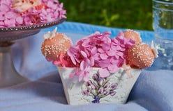 Rosa färgen blommar på den vita vasen med pop Arkivbilder