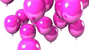 Rosa färgen sväller på vit bakgrund arkivfilmer