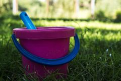 Rosa färger ösregnar och slösar skyffeln i gräset Royaltyfri Fotografi