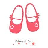 Rosa färger behandla som ett barn för hälsningkortet för skor den nyfödda vektorn Royaltyfria Bilder