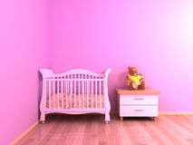 Rosa färger behandla som ett barn rum fotografering för bildbyråer