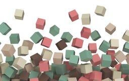Rosa färger beiga, brun turkosgräsplan färgade enkla kuber 3D på vit Arkivfoton