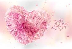Rosa färger blommar hjärta för dag för valentin` s Arkivfoto