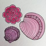 Rosa färger blommar och havsskalpennan och färgpulverteckningen Arkivbild