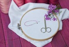 Rosa färger dragar och vitt tyg i träbroderiramen för Royaltyfri Bild