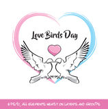 Rosa färger för förälskelsefågeldag & blåtthjärta royaltyfri illustrationer