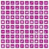 100 rosa färger för grunge för affärsutbildningssymboler fastställda Royaltyfria Foton