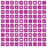 100 rosa färger för grunge för app-symboler fastställda Royaltyfria Bilder