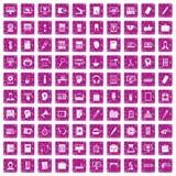 100 rosa färger för grunge för arbetsutrymmesymboler fastställda Arkivfoto