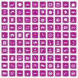 100 rosa färger för grunge för auto symboler för tjänste- mitt fastställda Royaltyfri Foto