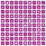 100 rosa färger för grunge för badortsymboler fastställda stock illustrationer