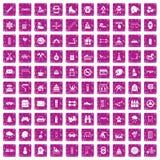 100 rosa färger för grunge för barnaktivitetssymboler fastställda Arkivbilder