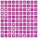 100 rosa färger för grunge för cybersäkerhetssymboler fastställda royaltyfri illustrationer