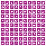 100 rosa färger för grunge för ecoomsorgsymboler fastställda Arkivbild