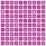 100 rosa färger för grunge för ecosymboler fastställda Arkivfoto
