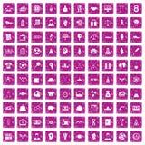 100 rosa färger för grunge för framgångsymboler fastställda Royaltyfria Bilder
