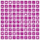 100 rosa färger för grunge för funktionsdugliga yrkesymboler fastställda Arkivbild
