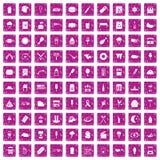 100 rosa färger för grunge för gatamatsymboler fastställda Arkivfoto