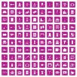 100 rosa färger för grunge för hushållsarbetesymboler fastställda Arkivbilder